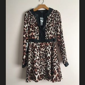 Bebe Leopard Dress with Faux Leather Trim NWT